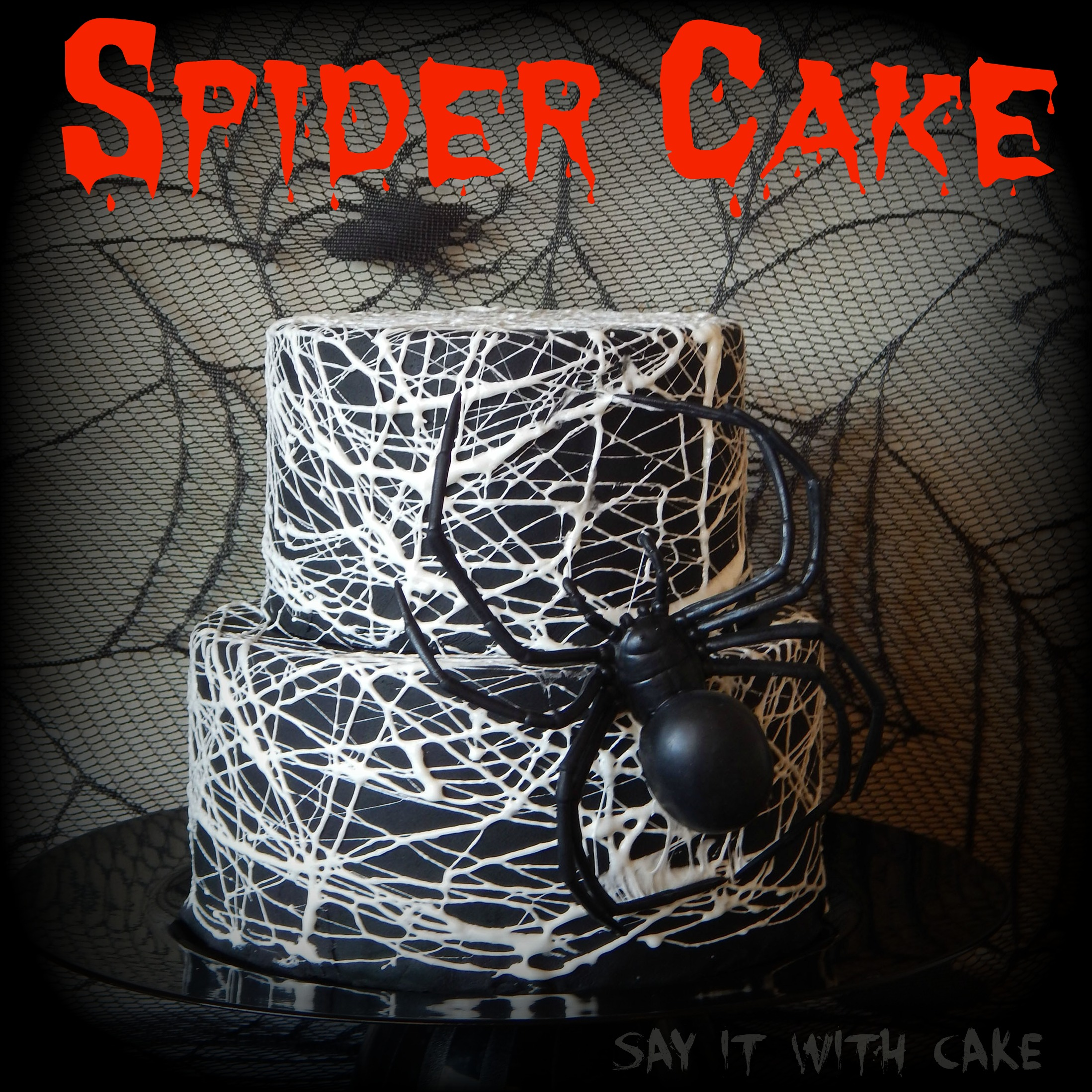 Spider Web Cake With Marshmallow